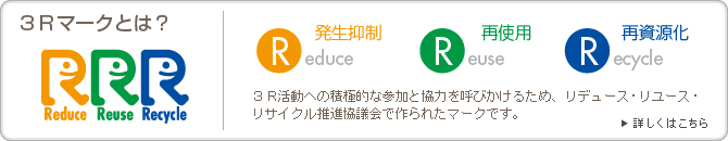 3Rマークとは?,Reduce,Reuse,Recycle